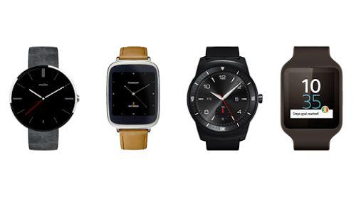 De gauche à droite : Motorola Moto 360, Asus ZenWatch, LG G Watch R, Sony Smartwatch 3